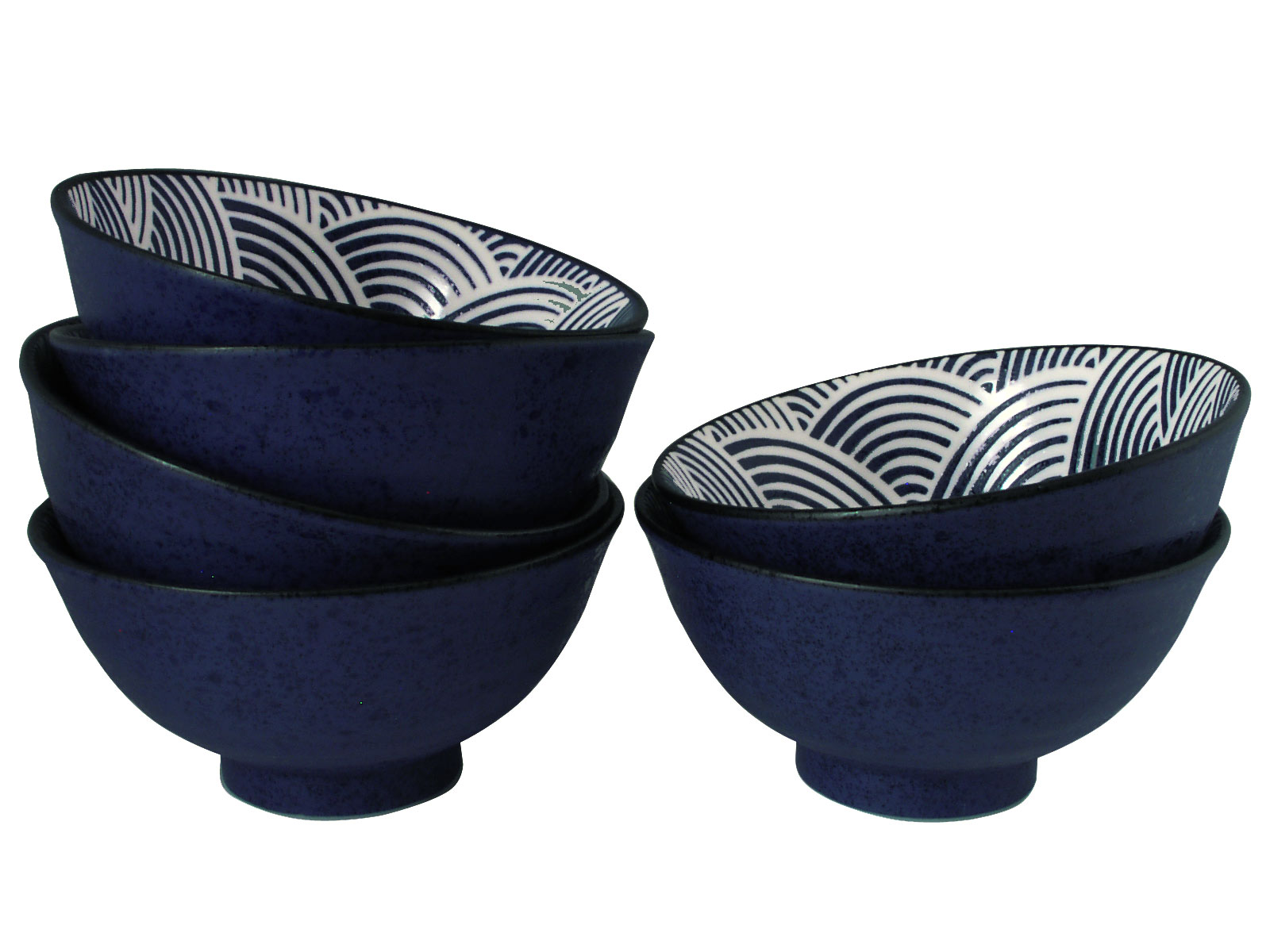 Modern Blue And White Japanese Wave Japanese Bowls Set For Six