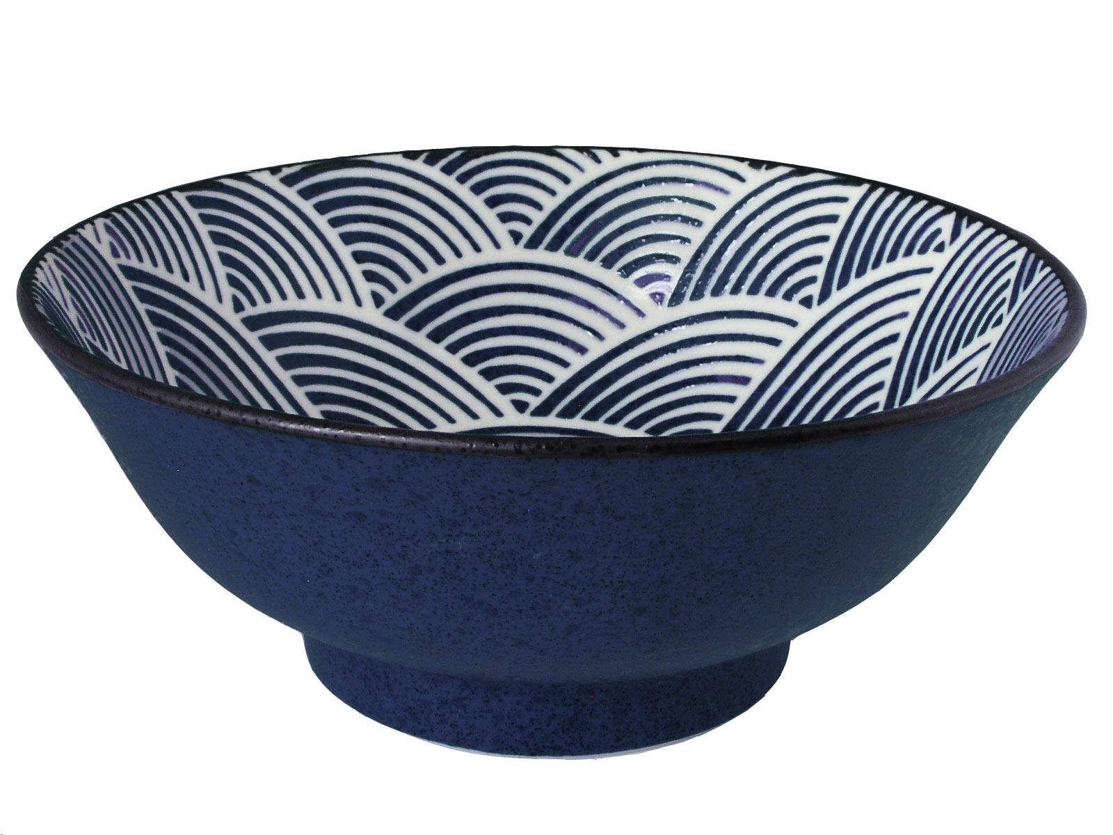 Modern Blue And White Japanese Wave Large Japanese Noodle Bowl