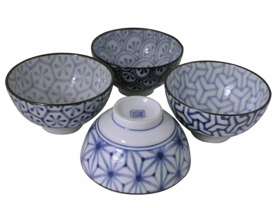 Modern Japanese Geometric Ceramic White and Blue Rice Bowls Set for Four
