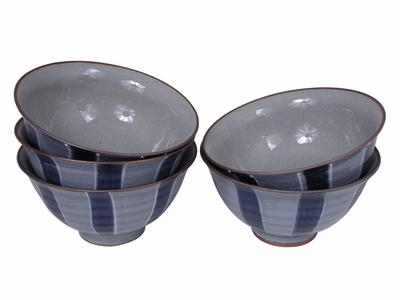 Modernized Blue Streak Japanese Rice Bowl Set for Five