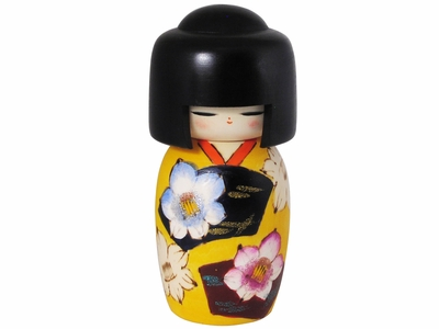 Modest Yellow Kimono Wooden Japanese Doll
