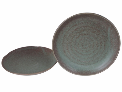 Moss Green 9-1/2 Inch Japanese Dinner Plates Set for Two