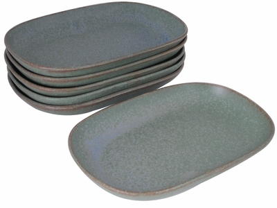 Moss Green Japanese Appetizer Plate Set of Six