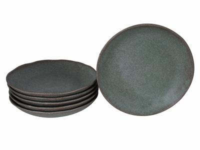 Moss Green Japanese Appetizer Plates Set for Six