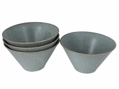 Moss Green Japanese Cereal Bowl Set for Four