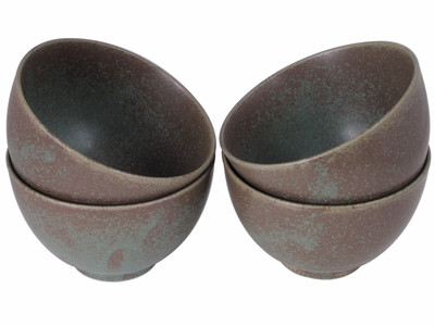 Moss Green Japanese Rice Bowls Set for Four