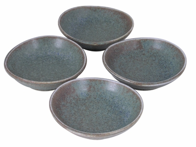 Moss Green Japanese Soy Sauce Bowl Set for Four