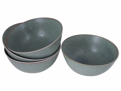 Moss Green Six Inch Ceramic Noodle Bowl Set for Four