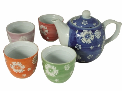 Multi-Colored Floral Tea Set for Four