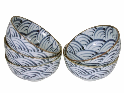 Nami Wave Collection Blue and White Rice Bowls Set for Five