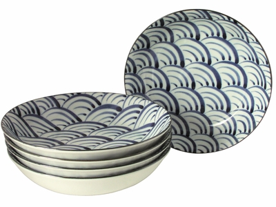 Nami Wave Collection Curved Plates Asian Dinner Sets for Five
