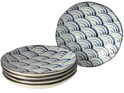 Nami Wave Collection Japanese Asian Style Dishes Set for Five