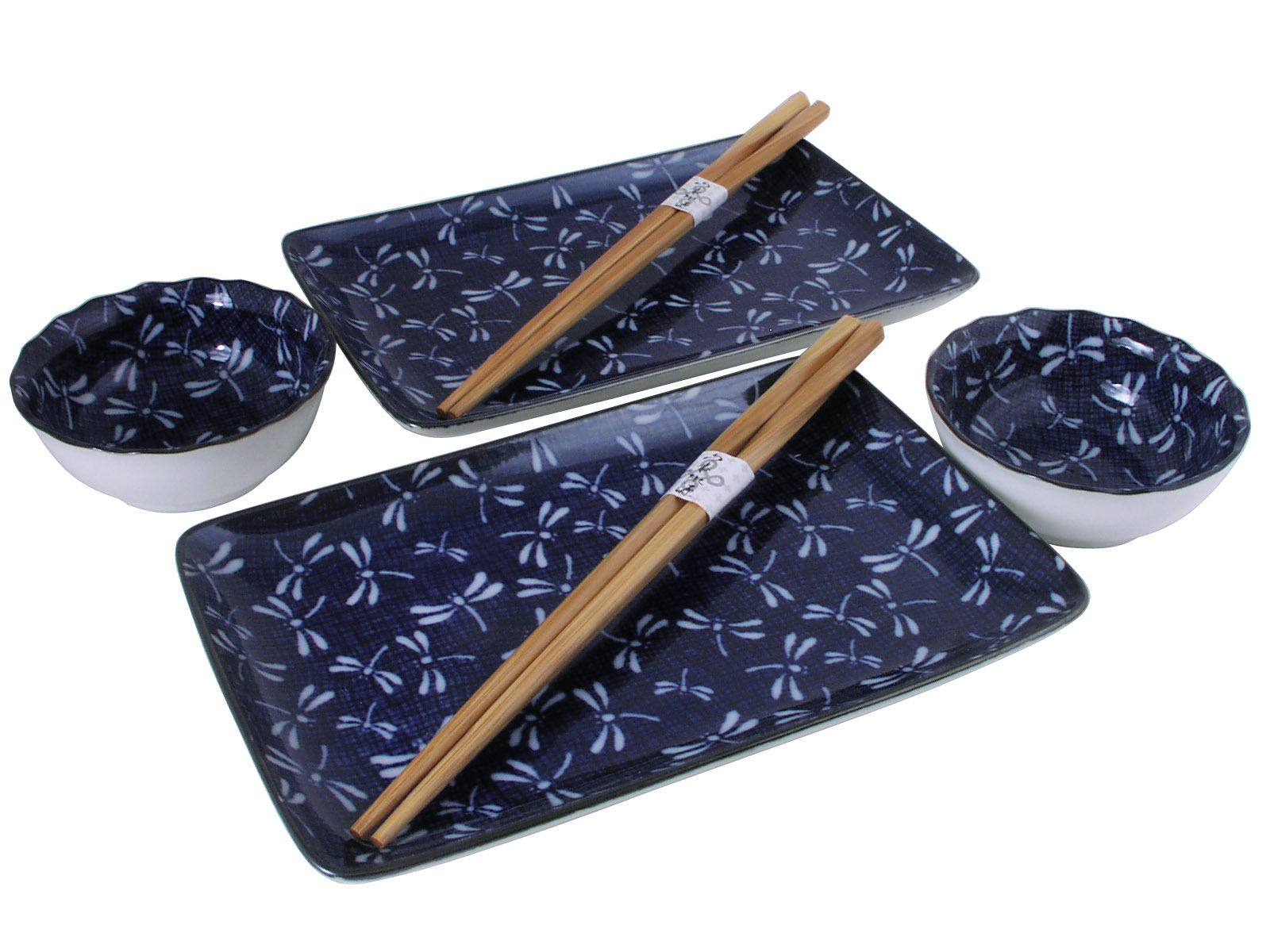 Blue Spring Dance of the Dragonfly Japanese Sushi Dinnerware for Two