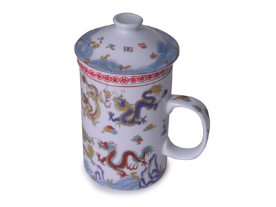 Nine Dragon Chinese Tea Mug with Strainer and Lid (ONE CUP ONLY)