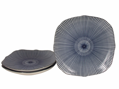 Nine Inch Blue and White Parasol Illusion Japanese Dinner Set for Three