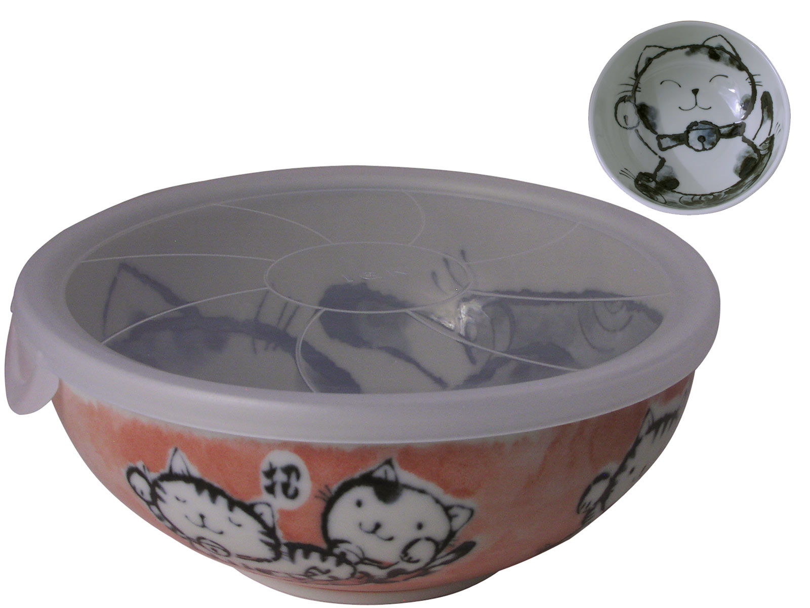 Orange And Cream Maneki Neko Ceramic Noodle Bowl With Lid