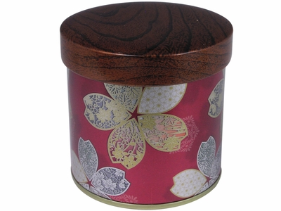 Ornate Gold Cherry Blossoms on Shimmering Maroon Japanese Tea Container