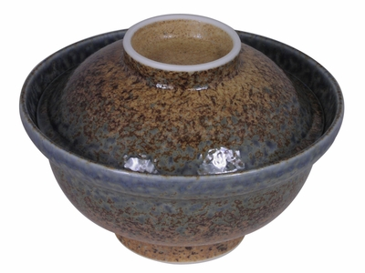 Pale Blue and Earthen Crackled Sand Donburi Bowl with Lid