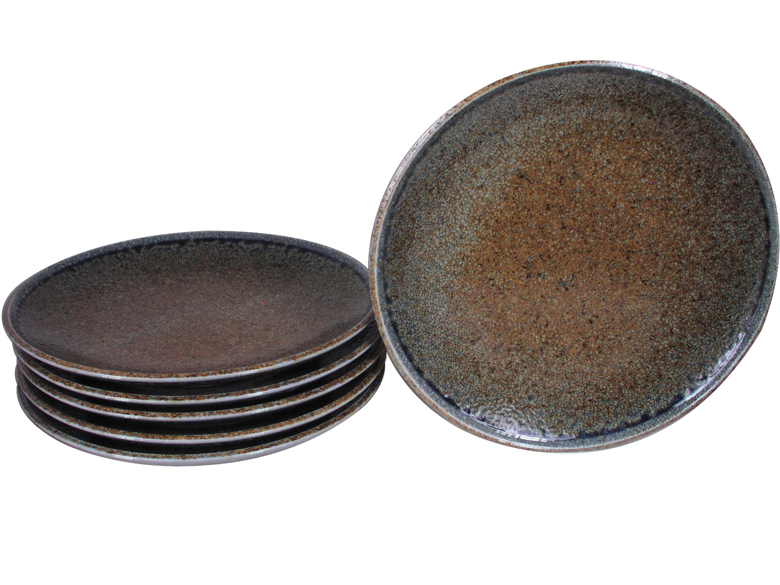 Pale Blue And Earthen Crackled Sand Japanese Dinner Plate