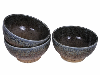 Pale Blue and Earthen Crackled Sand Japanese Noodle Bowl Set for Three