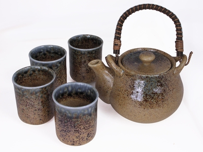 Pale Blue and Earthen Crackled Sand Japanese Tea Set for Four