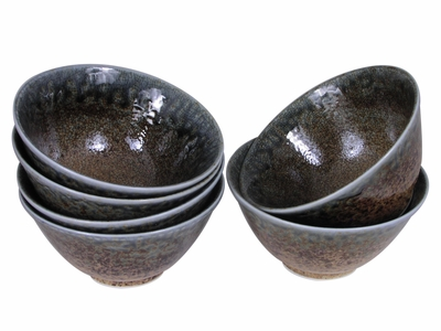 Pale Blue and Earthen Crackled Sand Rice Bowl Set for Six