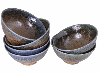 Pale Blue and Earthen Sand Crackle Japanese Bowl Set for Six