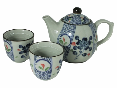 Pale Green with Blue Cherry Blossom  Japanese Tea Set for Two