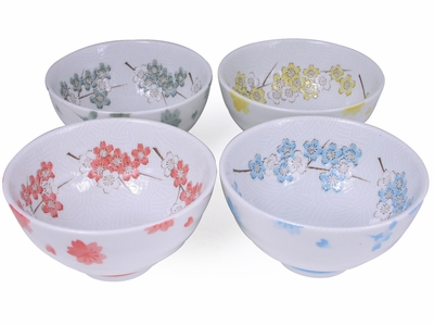 Pastel Cherry Blossoms Asian Rice Bowls Gift Set of Four (LAST SET)
