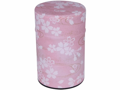 Pastel Pink and White Cherry Blossoms Golden Wind White Tea Canister