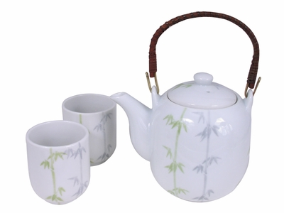 Peaceful Bamboo Oriental Tea Set for Two