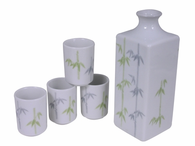 Peaceful Bamboo Traditional Japanese Sake Set for Four