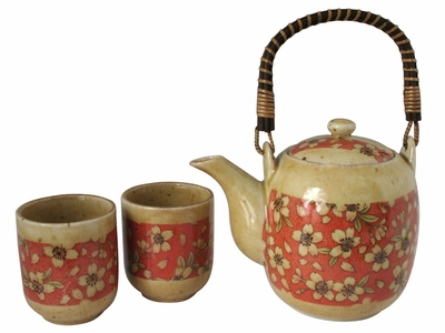 Peach and Cream Cherry Blossom Traditional Japanese Tea Set for two