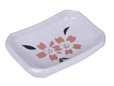 Peach Cherry Blossom on White Ceramic Sauce Dish