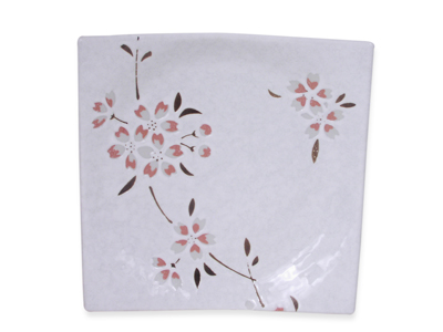 Peach Cherry Blossoms on White Japanese Square Plate (LAST ONE)