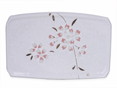 Peach Cherry Blossoms on White Porcelain Appetizer Plate