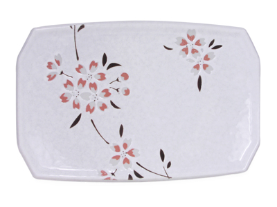 Peach Cherry Blossoms on White Porcelain Dessert Plate