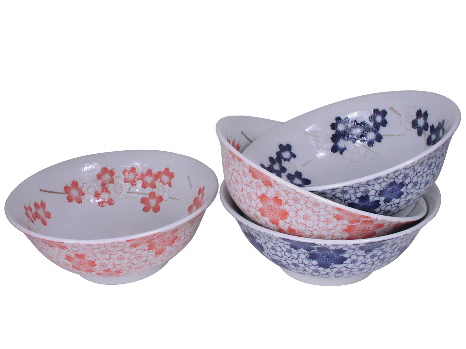 Peachy Pink and Dark Blue Cherry Blossom Dinnerware Ceramic Noodle Bowl Set for Four  sc 1 st  Mrs. Linu0027s Kitchen & Peachy Pink and Dark Blue Cherry Blossom Dinnerware Ceramic Noodle ...