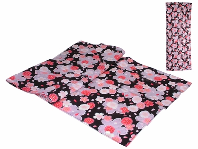Pink and Grey Cherry Blossoms on Black Japanese Tenugui Hand Towel