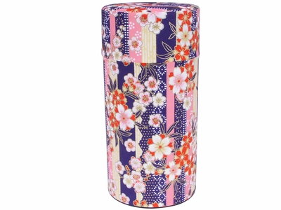 Pink and Red Cherry Blossom Purple Washi Paper Tea Canister
