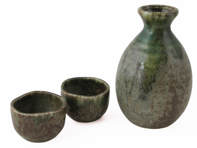 Polished Earthen Green Authentic Sake Set