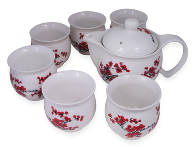 Porcelain Red Cherry Blossom Tea Set for Six