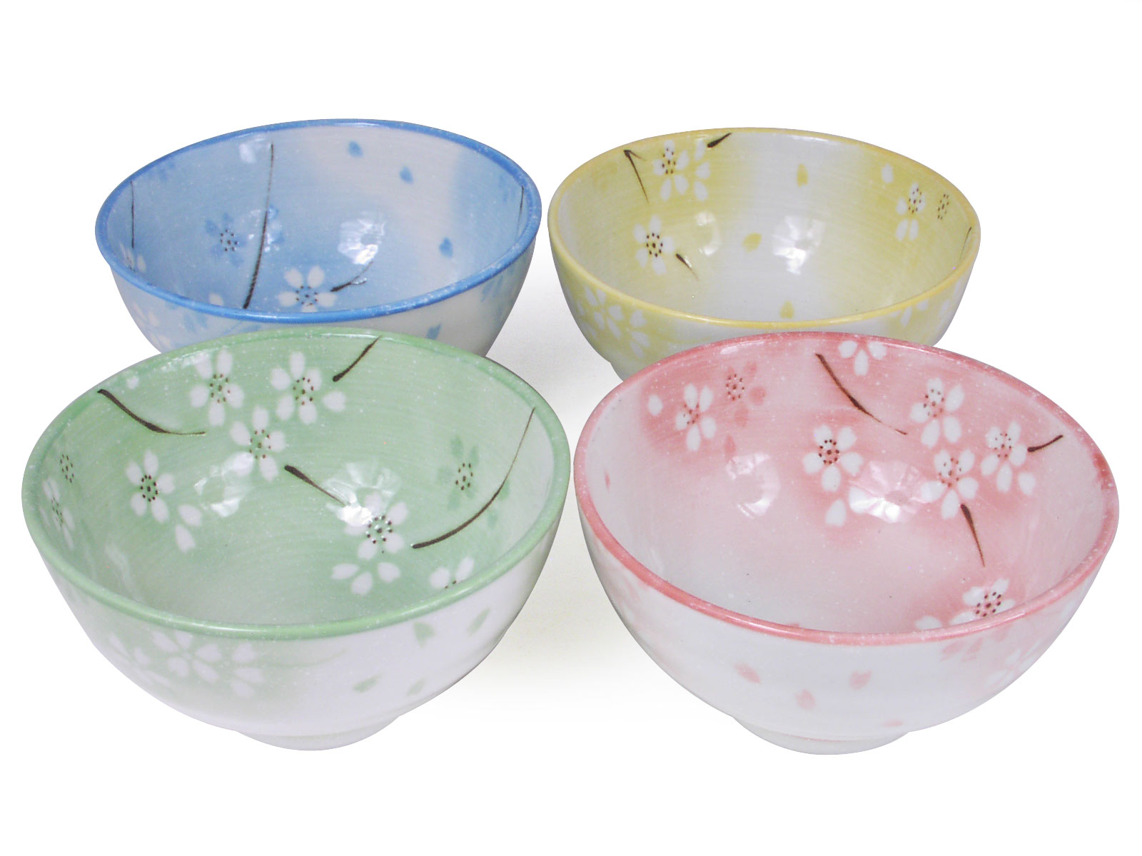 Snow Cherry Blossoms Small Cute Japanese Bowls Set for Four