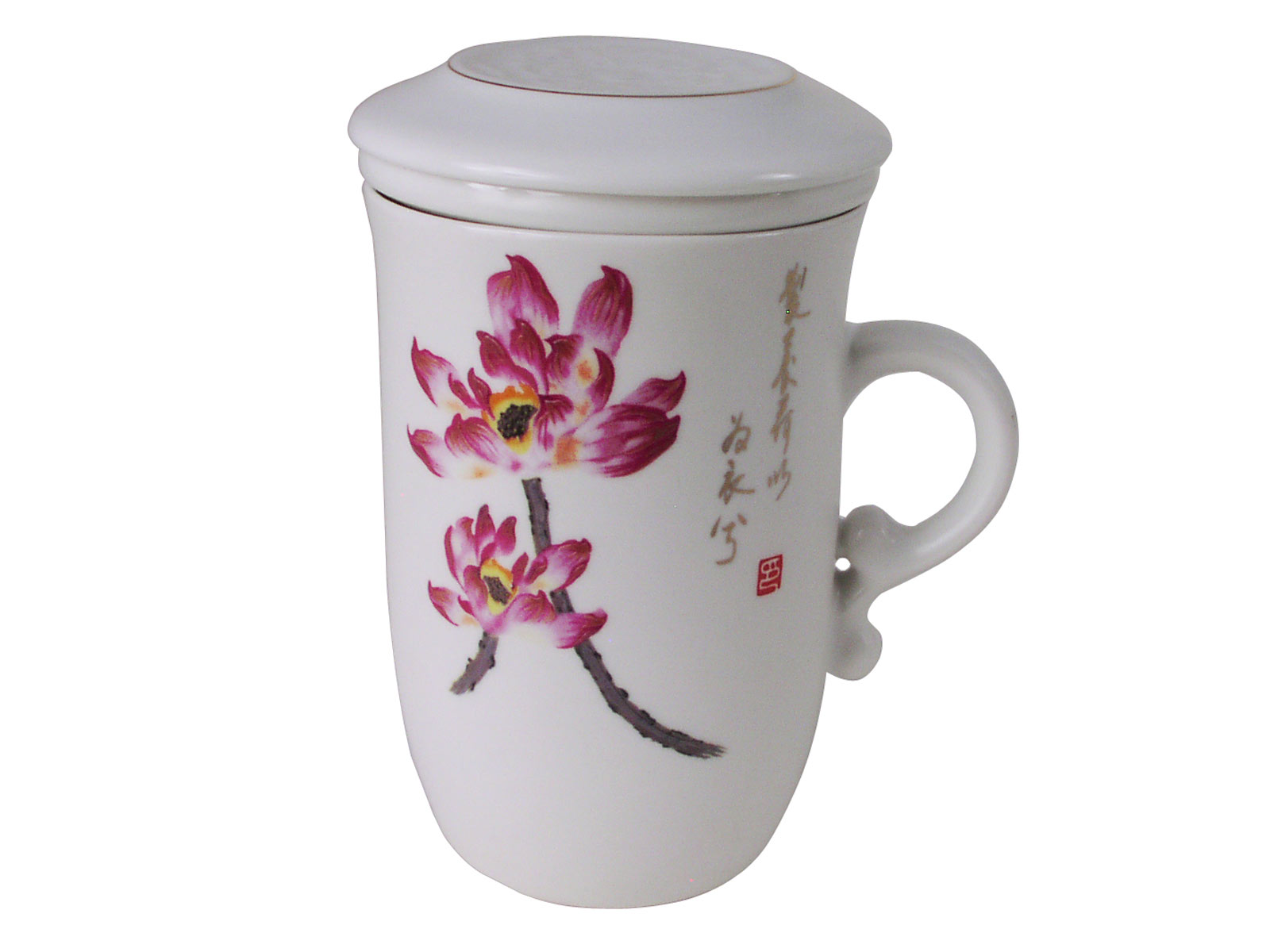 Purple Lotus Porcelain Tea Infuser Mug