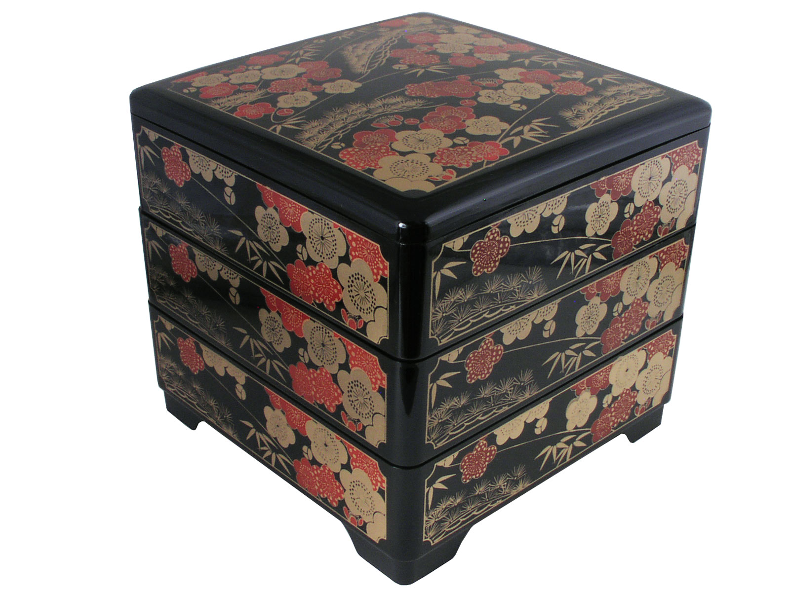 Red Kitchen Canisters Red And Gold Plum Blossoms Japanese Bento Lunch Box