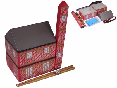 Red Brick Barn Kid's Plastic Lunch Box with Travel Chopsticks