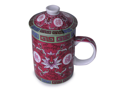 Red Magnolia Tea Mug with Lid (ONE CUP ONLY)