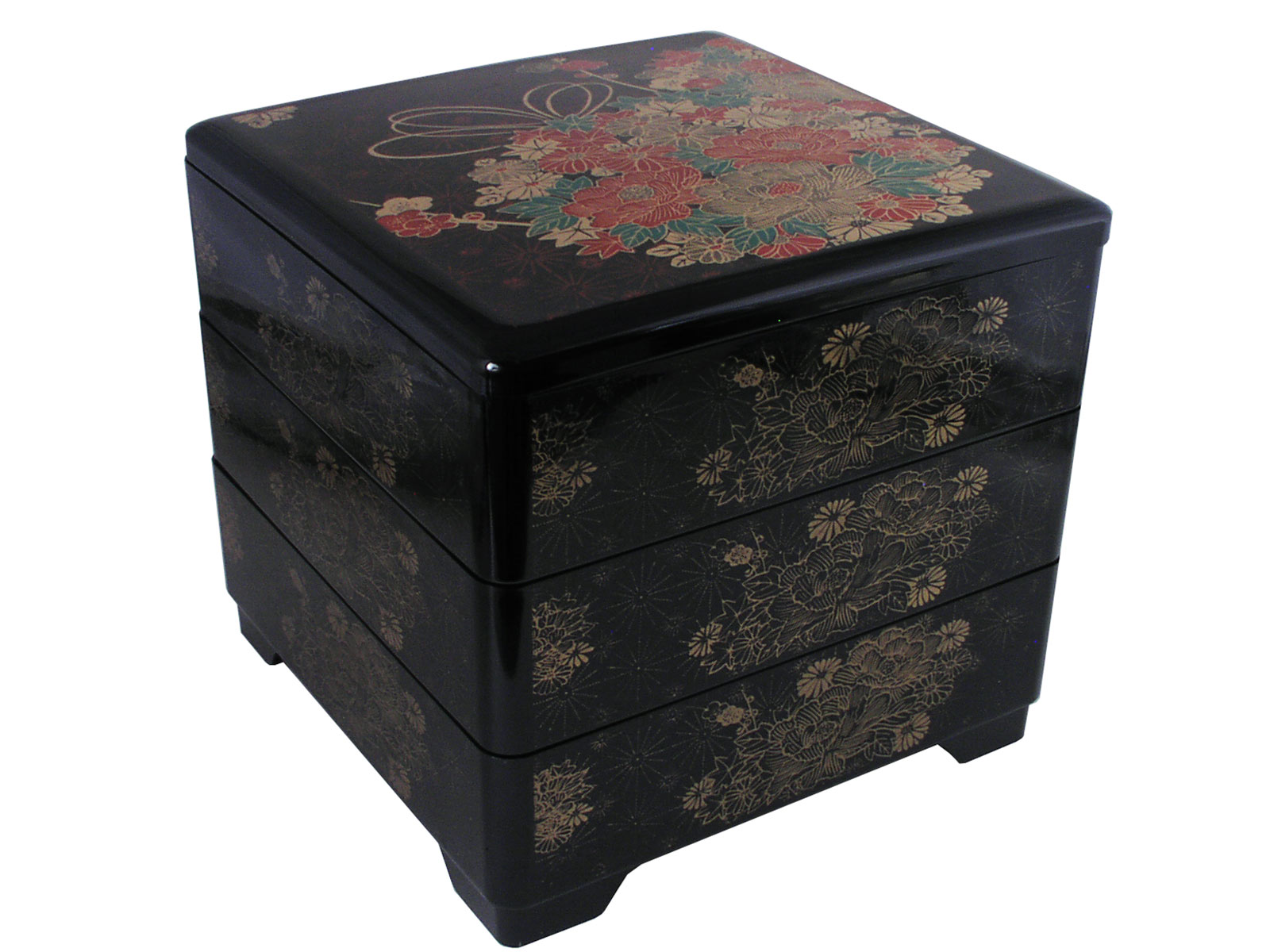 rich red gold green autumn bouquet lacquer bento box. Black Bedroom Furniture Sets. Home Design Ideas