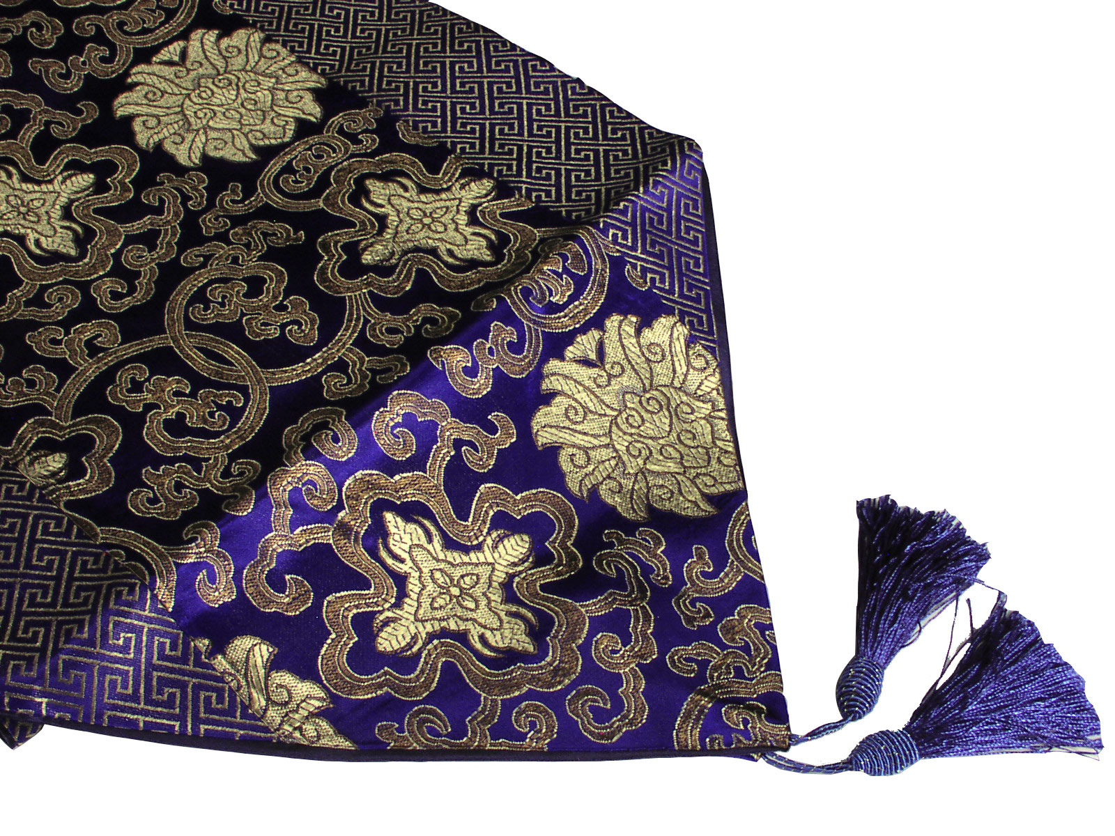 blue gold lotus asian inspired table runner