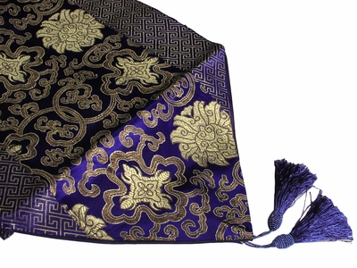 Royal Blue Gold Lotus Asian Inspired Table Runner
